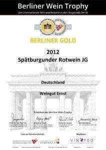 weingut ernst berliner gold 2012 spaetburgunder JG